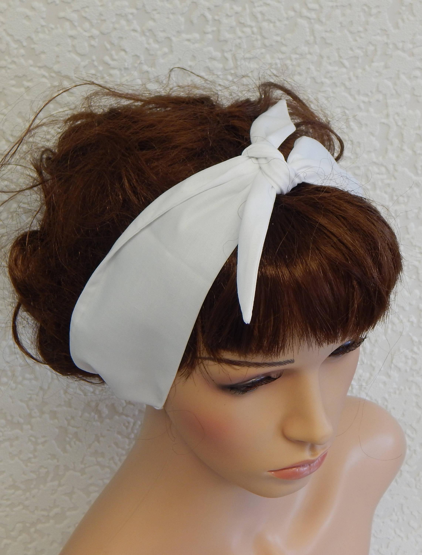 White Retro Headband Pin Up Headbands Tie Up Head Wrap Self  b99bdf19e02