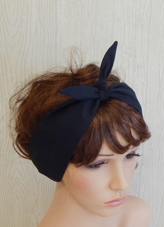 Retro Headband Black Headbands Tie Up Head Wrap Self Tie  e4680790018
