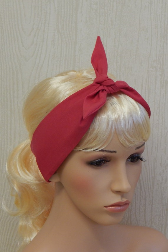 Hot Pink Retro Headband Rockabilly Headbands Tie Up Head  224fe647899