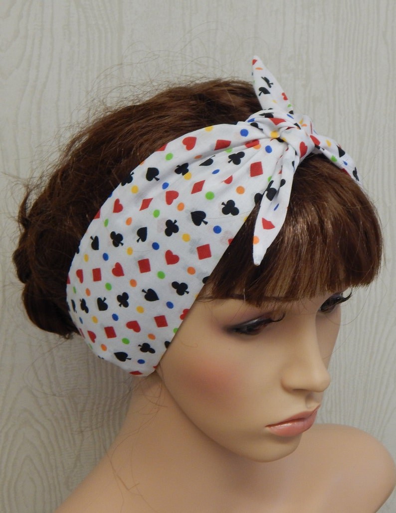 67a117cd3c8c Retro self tie cotton headband rockabilly hair band tie up | Etsy