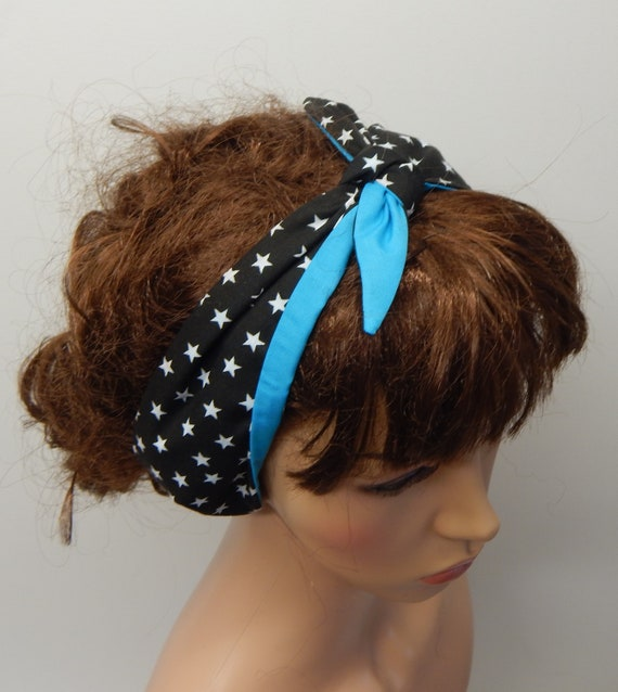 42683d1ba814 Self tie reversible headband retro head wear rockabilly hair | Etsy