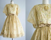 1950s dress . floral print cotton and chiffon vintage 50s style sheer pin up dress . full circle rockabilly skirt . Spring Garden xsmall