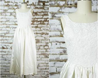 93ff6d28bb vintage simple retro wedding dress . 1960s off white satin party dress . rehearsal  dinner dress . xsmall