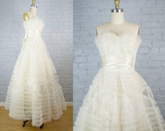 e368116cb775 1950s prom dress . vintage tea length lace and tulle strapless cream white  dress . 50s cupcake dress . 1950s retro wedding dress . small med