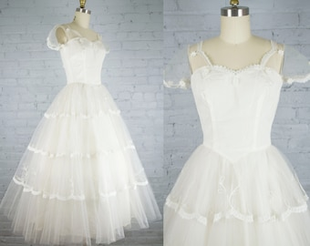 85ffb88ae5602 1950s tulle and lace white tea length wedding dress . vintage 50s cupcake wedding  gown or prom dress . xs . s