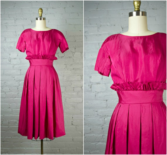 vintage cocktail dress . raspberry red 50s party d