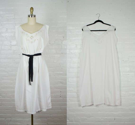 Edwardian bohemian white cotton dress antique . 19