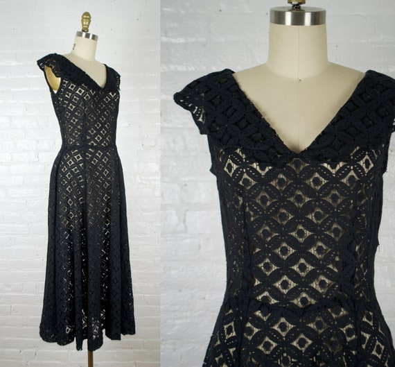 1940s cut out lace dress. vintage 40s see through