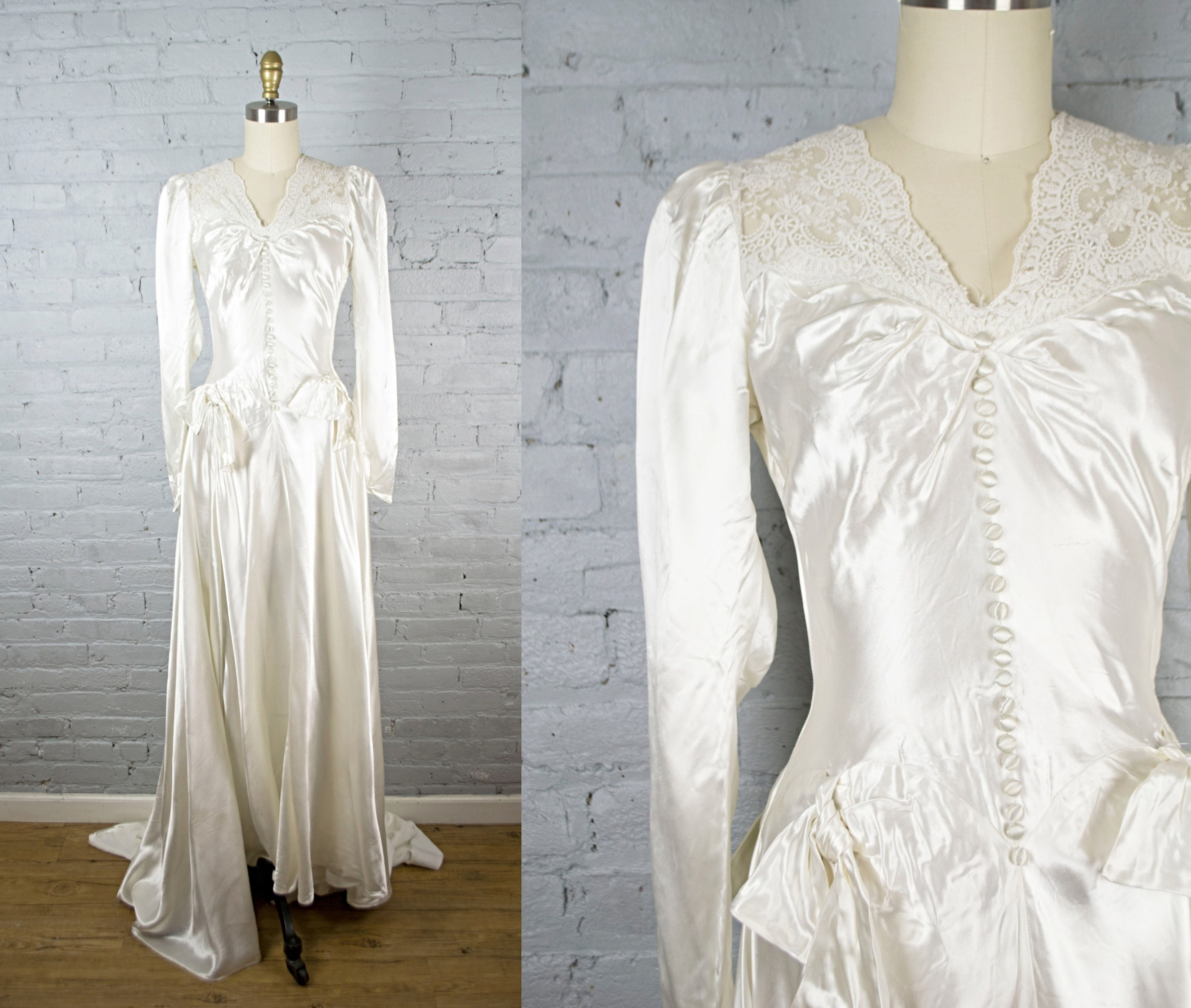 1940s wedding gown . 40s white satin and lace wedding dress with train .  long sleeve wedding dress . xsmall