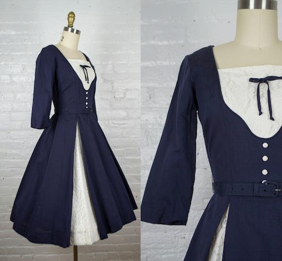 1950s dress . 50s cotton rockabilly  dress . vinta