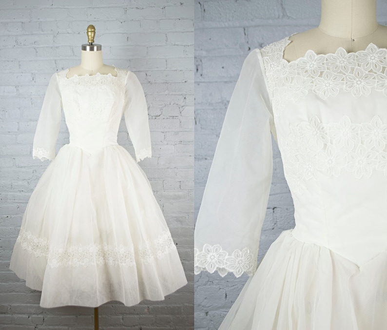 1950s Wedding Dress 50s Silk Chiffon And Lace Tea Length White Wedding Gown Vintage Tulle Cupcake Wedding Dress Short Sleeves Small Bodas Vestidos