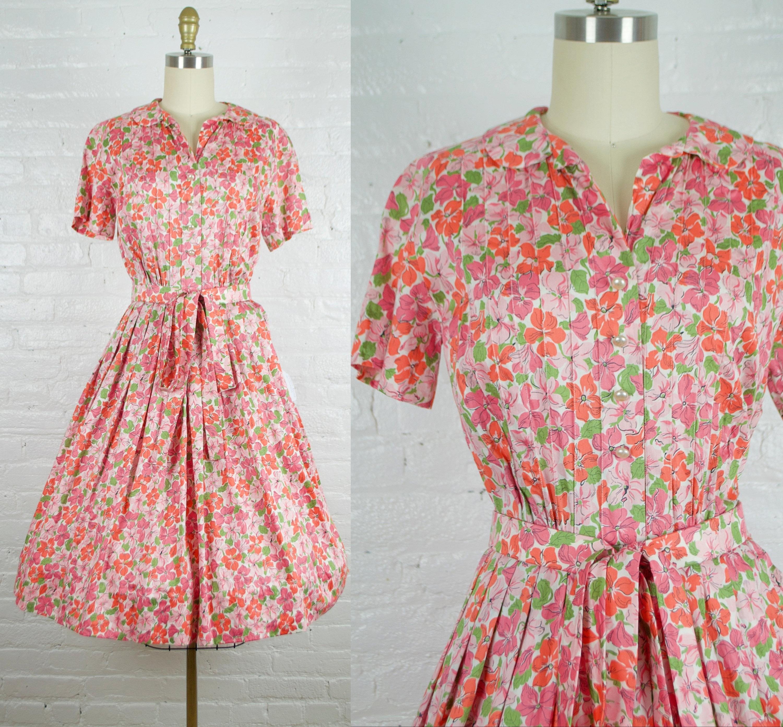 1950s Hats: Pillbox, Fascinator, Wedding, Sun Hats 1950S Shirtdress . Vintage 50S Cotton Pink Floral Day Summer Dress Xsmall $0.00 AT vintagedancer.com