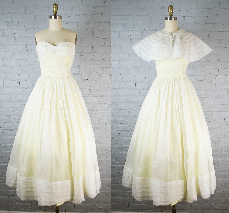 1950s Vintage Tea Length Wedding Dress Sheer White Yellow Etsy