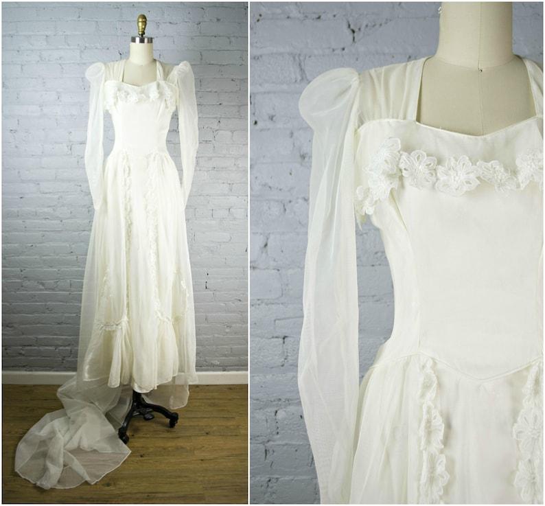 d071db382ea 1940s wedding gown . sheer vintage 40s white wedding dress