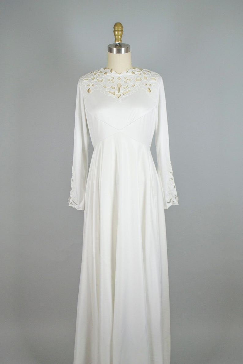 70s empire waist boat neck wedding gown with train Vintage 1970s bohemian jersey modest style wedding dress small medium