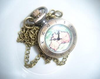 australia pendant watch necklace steampunk cosplay aussie accessory world traveler