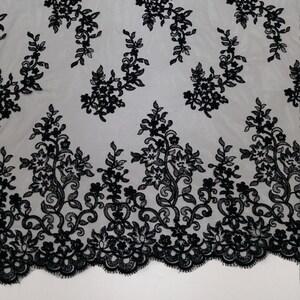SALE Black lace fabric Embroidery lace Alencon Lace Lingerie Lace J20091 Bridal Wedding Lace Vintage France Lace Evening dress lace