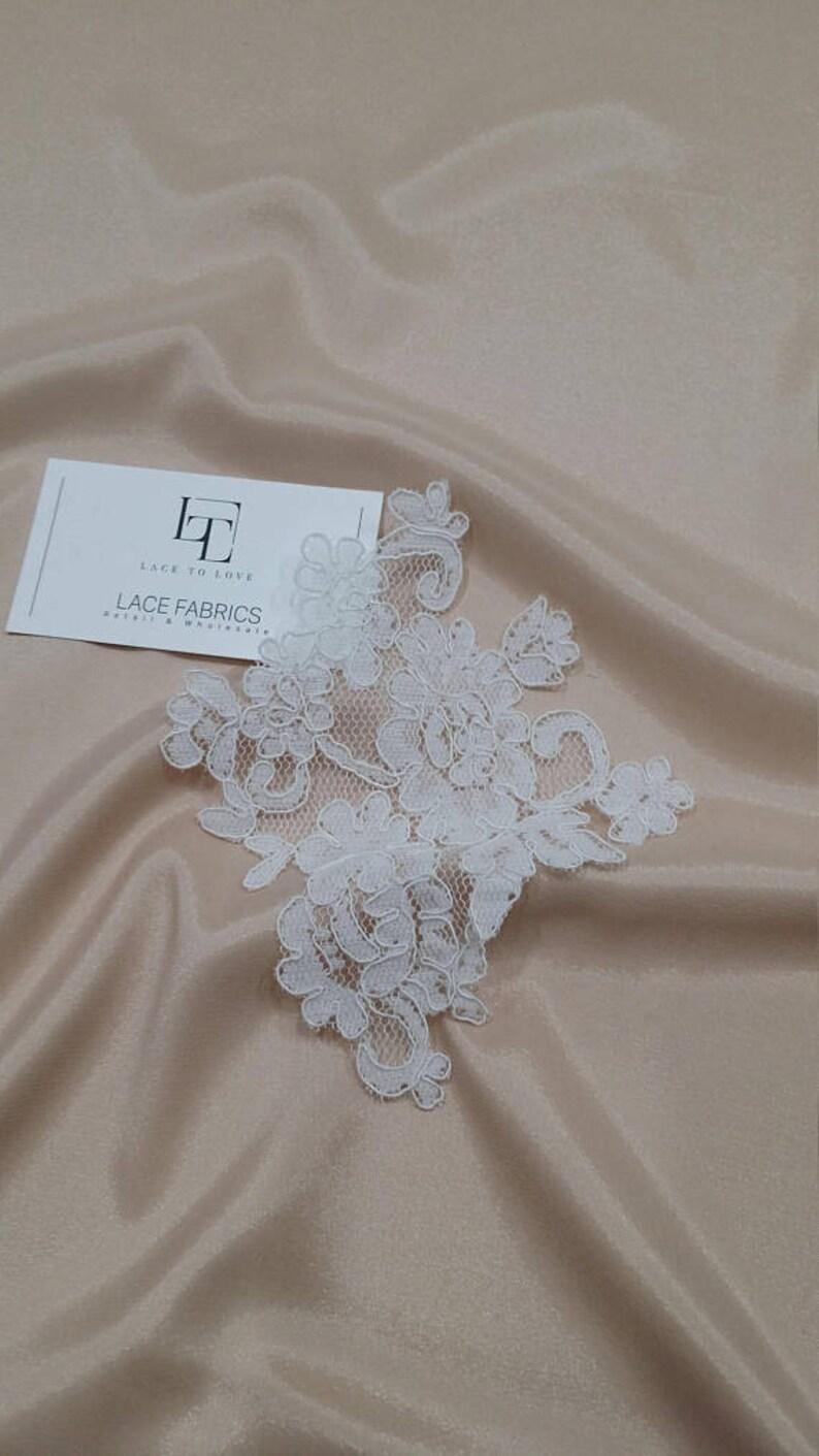 bridal applique French Chantilly lace applique White lace Applique M0068 Snow white Lace applique 3D lace