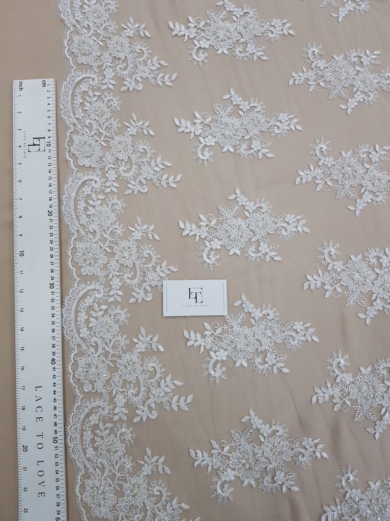 SALE Ivory Lace fabric by the yard Bridal Wedding Lace Pearl lace Sequin Lace Beaded KSBY61653CSB Garter lace Alencon Lace French Lace