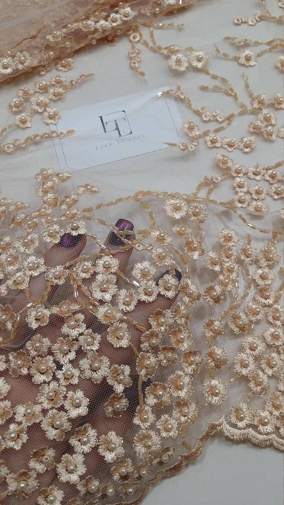 VENTE lumière pêche dentelle tissu, tissu de dentelle perlé Français luxe, tissu de haute qualité Français perlé chantilly lace, BB6001 de perles couleur pêche clair a0f3ca