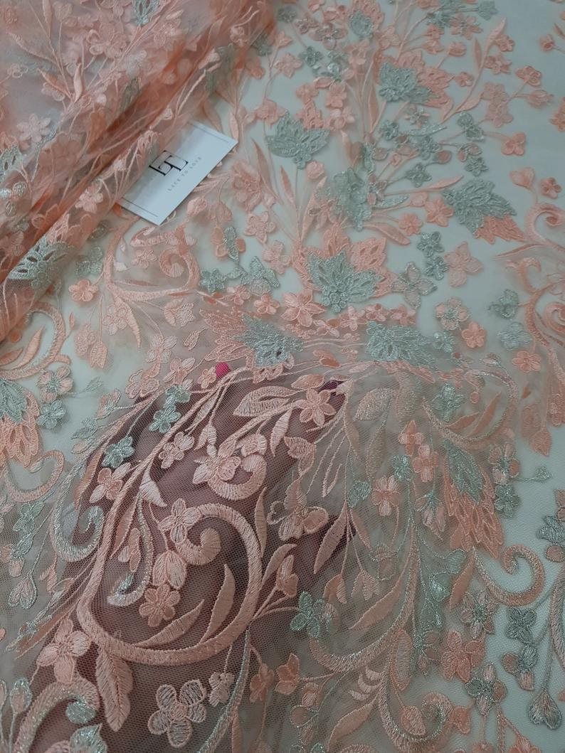 Embroidered lace French Lace Wedding Lace Bridal lace White Lace Veil lace Lingerie Lace Alencon Lace NK75003 Salmon pink lace fabric