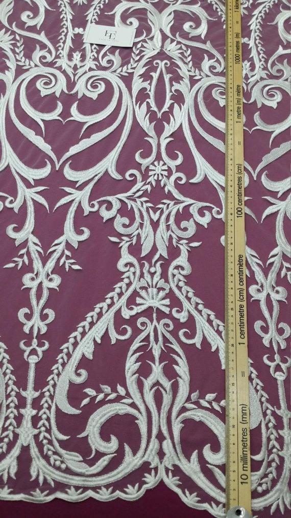 VENTE neige dentelle blanche en tissu, brodés Français dentelle, dentelle mariée, de mariage, mariée, dentelle Pure blanc dentelle, voile de dentelle, dentelle de Lingerie, Alençon EVS080C d3fa75