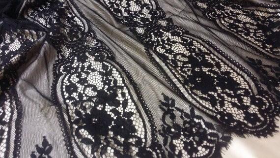 SALE noir en tissu, dentelle de robe Chantilly Français, mariée dentelle mariage dentelle soirée robe de dentelle festonnée Floral dentelle Lingerie dentelle yard L71093 56bf97