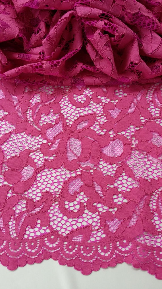 Tissu dentelle Fuchsia vente par yard, France dentelle, dentelle d'Alençon, mariage dentelle de broderie de dentelle de mariée mariage d'Alençon, robe de soirée dentelle Lingerie dentelle L77122 71de47