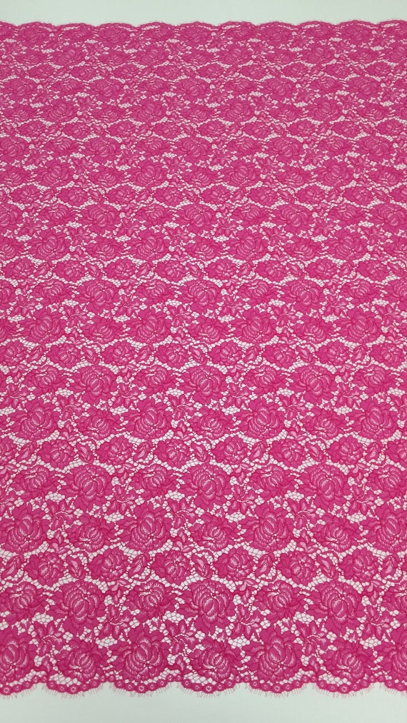 SALE Pink Lace fabric Spanish Lace Embroidered lace ...