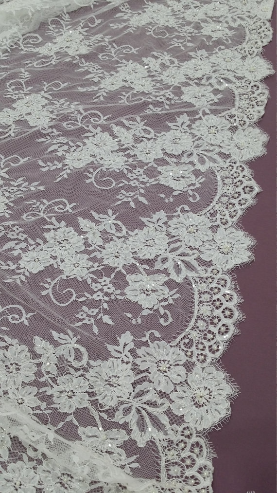 SALE Ivory Lace fabric by the yard Bridal Delightful Wedding Lace Pearl lace Sequin Lace Beaded lace KSBY61889CB Alencon Lace French Lace