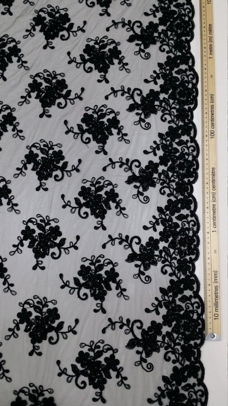 Wedding lace Embroidered Floral lace by the yard EVS050CB Bridal lace French Alencon lace Sequin lace SALE Beaded black lace fabric