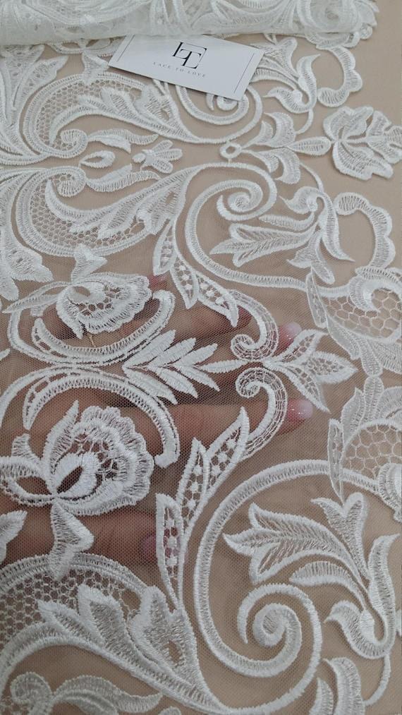 VENTE guipure Ivoire dentelle dentelle par yard, Français dentelle, dentelle dentelle d'Alençon, robe de mariée en dentelle, mariage dentelle, dentelle blanche, dentelle voile, jarretière dentelle EEV2104 758b7d