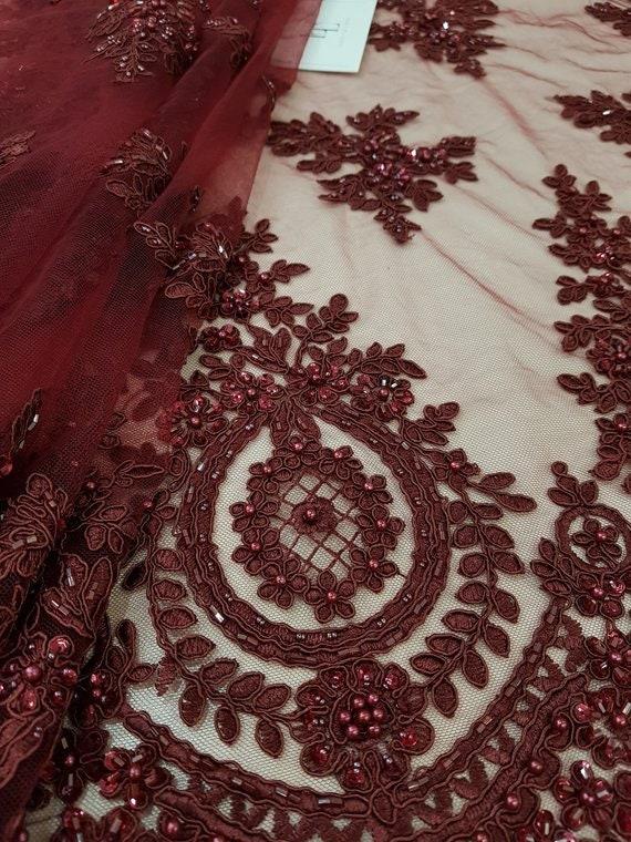 VENTE perles Bordeaux dentelle, dentelle de paillettes, Français dentelle, dentelle de de Chantilly, de dentelle mariée dentelle, dentelle mariage, dentelle brodée dentelle florale CDE008 fadae5