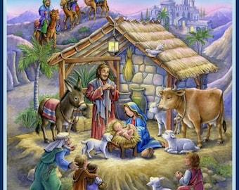 Nativity Scene - Christmas - Fabric Quilt Panel - 100%  Cotton Fabric