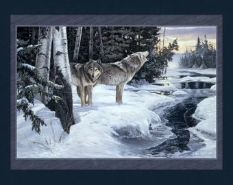 Wolf Wolves - Wilderness Cry - Fabric Quilt Panel - 100%  Cotton Fabric