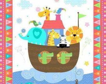 Noah's Ark  - Fabric Baby Quilt Panel - 100%  Cotton Fabric