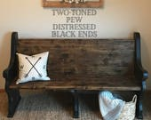SHIPPING INCLUDED Traditional Style, Church Pew Bench, black, farmhouse furniture, entryway