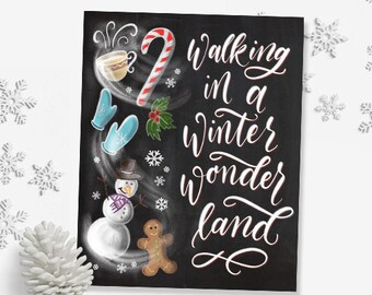Walking in a Winter Wonderland Christmas Printable, 5 x 7, 8 x 10, Christmas Decor, Candy Cane Christmas, Holiday Prints, Christmas Quote