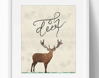 Oh Deer Print Art, Oh Deer Quote, Oh Deer Printable, Calligraphy, Deer Quote Printable, Animal Printable, 5 x 7, 8 x10, Wall Art