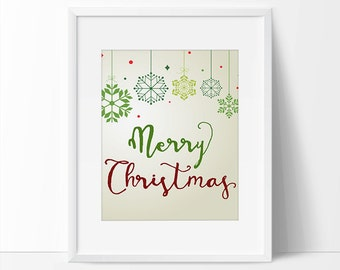 Merry Christmas Printable Quote, 5 x 7, 8 x 10, Green Christmas, Holiday Prints, Christmas Quote, Snowflake Art.