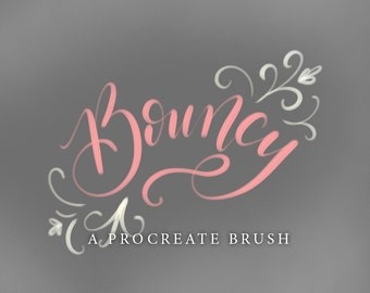 Bouncy - A Procreate Lettering Brush by Printable Haven made for the iPad Pro and Apple Pencil.