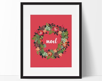 Christmas Printable, Noel Sign, 5 x 7, 8 x 10, Red Christmas, Holiday Prints, Christmas Quote, Christmas Home Decor.