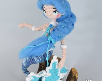 Mermaid, little mermaid, mermaid doll, amigurumi doll, posable doll, cute doll, kawaii mermaid, crochet mermaid, crochet doll, stuffed doll
