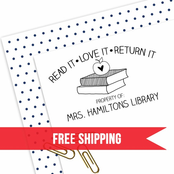 Custom Teacher Stamp School Classroom Library Book
