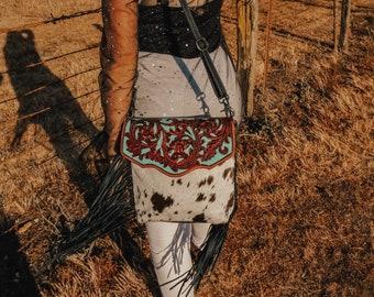 Myra Genuine Leather Hairon Cowhide Hand Tooled Fringe Western Women's Purse Bag Crossbody