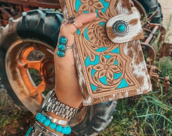 Myra Genuine Leather and Hair on Southern Western Wallet Hand Tooled