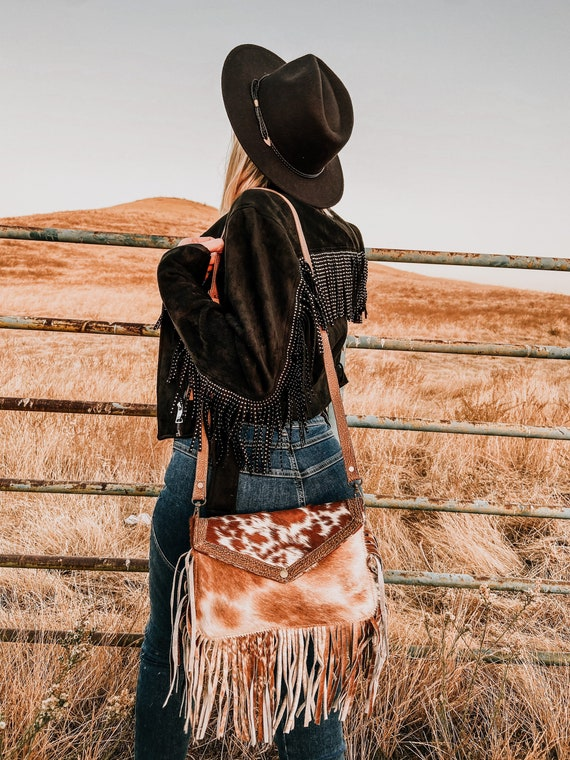 Myra Bag Hair On Cowhide Fringe Crossbody Purse