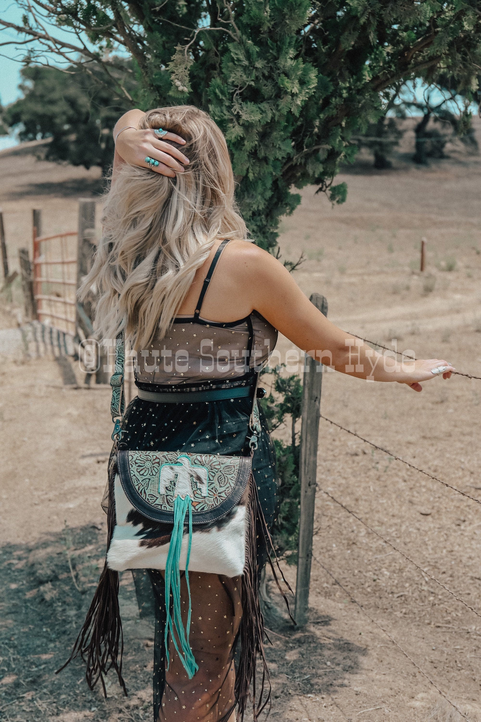 Myra Thunderbird Genuine Leather And Hair On Cowhide Southern Western Fringe Purse Turquoise hints