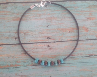 ankle bracelet, leather anklet, turquoise anklet, wood bead anklet, unique anklet, beach anklet, simple anklet, teen ankle bracelet,