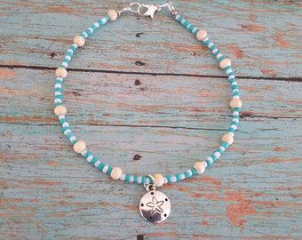 ankle bracelet, summer anklet, wood bead anklet, silver dollar anklet, silver dollar anklet, beach anklet, blue anklet, white anklet, beads